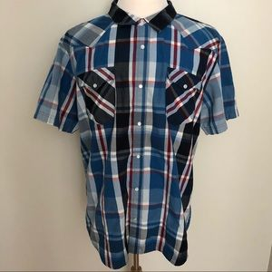 Levi's double pocket plaid pearl snap shirt, XXL
